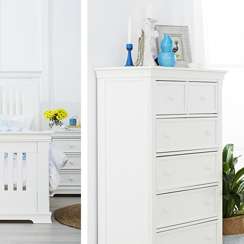 Smart design meets classic style with the Lexington bedroom setting, available in antique white.   Pictured: Lexington Five Drawer Tallboy and Two Drawer Bedside Table.