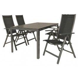 Complete tuinset met 4 verstelbare stoelen Bellagio en 1 tuintafel Porto 160 x 90 cm