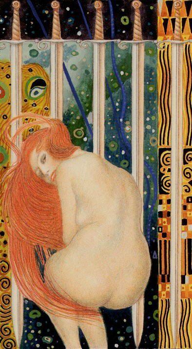 Tarot de Klimt par A. Atanassov 5 d'épées