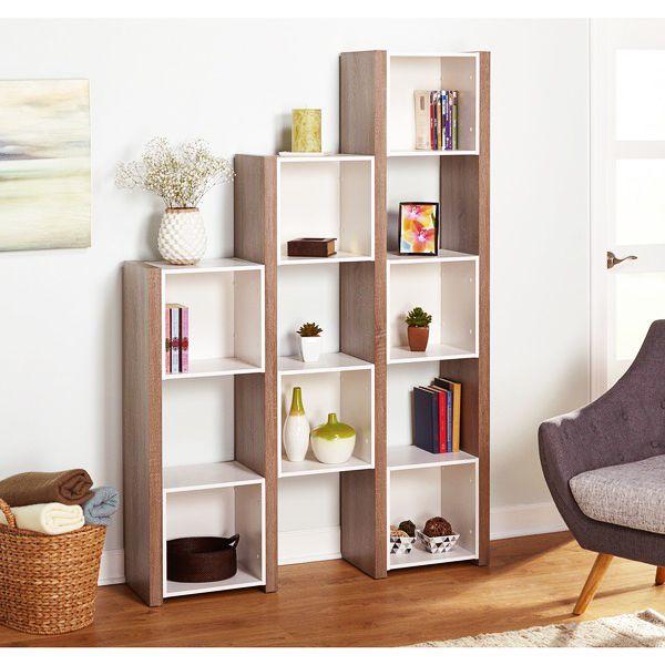 Desain Rak Buku Sederhana Ruang Tamu Minimalis Putih Kotak