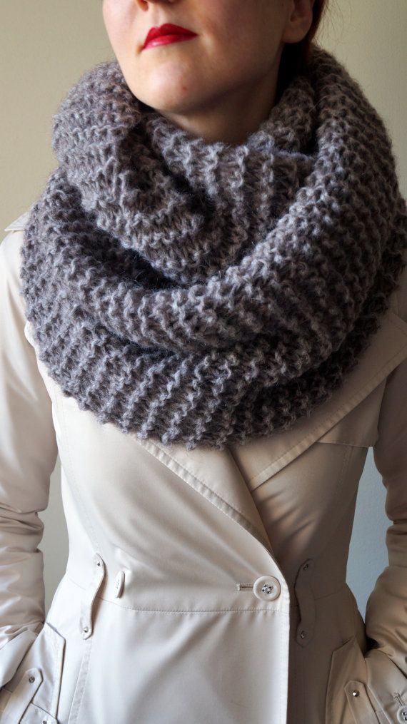 mink color infinity scarf wool loop circle by LOVELYCHICKNITTING