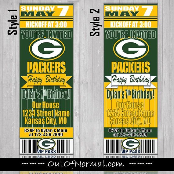 Green Bay Packers Themed Birthday Invitation Tickets