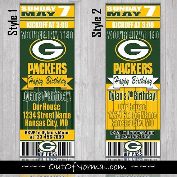 Green Bay Packers Themed Birthday Invitation Tickets