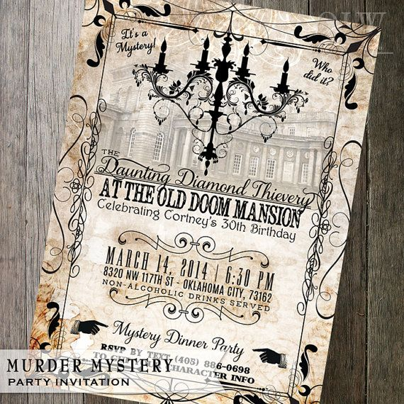 Vintage Murder Mystery Dinner Party Invitation - Customizable for birthdays…