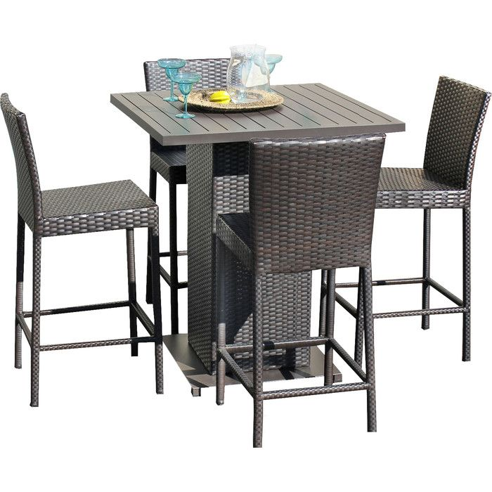 TK Classics 5 Piece Napa Pub Table Set With Barstools Outdoor Wicker Patio  Furniture