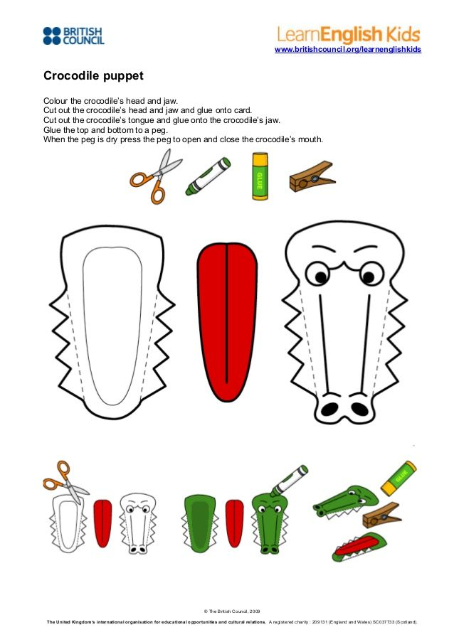 www.britishcouncil.org/learnenglishkids  Crocodile puppet Colour the crocodile's head and jaw. Cut out the crocodile's hea...