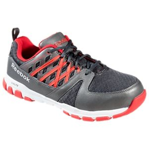 Reebok Sublite Work Steel Toe Work Shoes for Men - Gray/Red - 11.5M