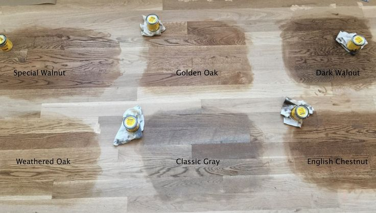 Minwax floor stain test on Red Oak floors in natural light: Special Walnut, Golden Oak, Dark Walnut, Weathered Oak, Classic Gray and English Chestnut