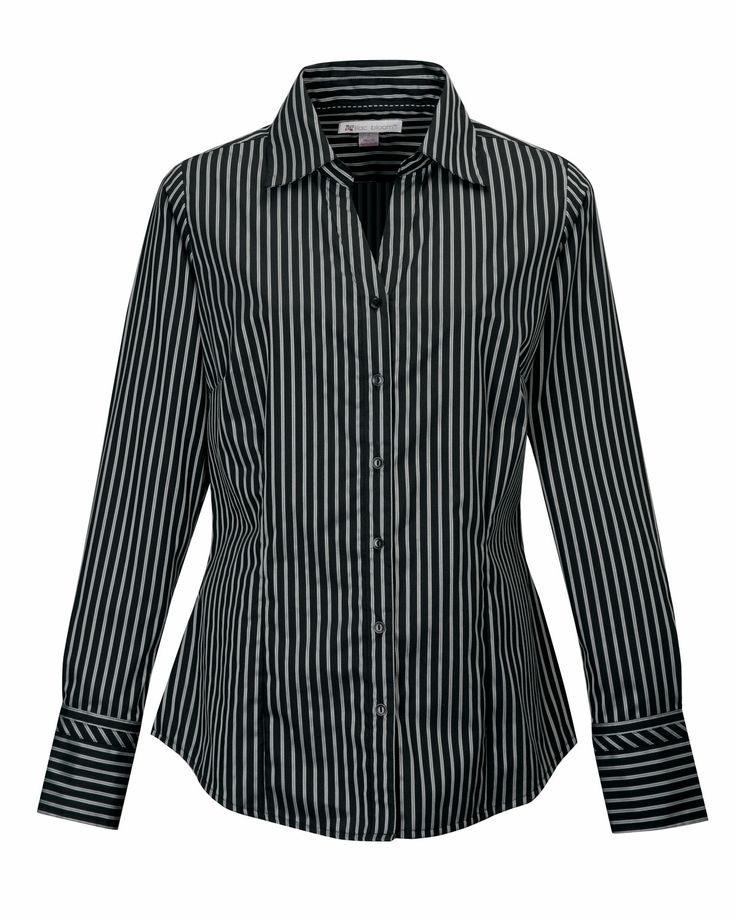 Womens Cotton Non Iron Striped Open Neck Dress Shirt Tri