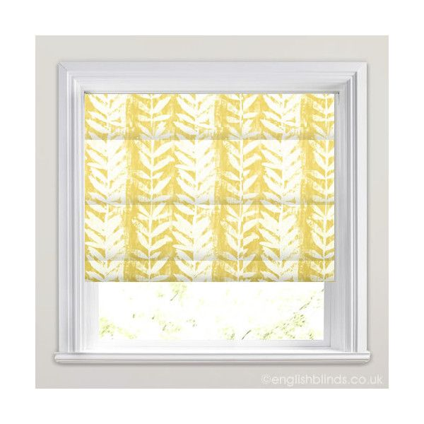 Beautiful Mustard Yellow & White Fern Patterned Roman Blinds ($83) ❤ liked on Polyvore featuring home, home decor, window treatments, window blinds, patterned window shades, white roman shade, mediterranean home decor, white blinds y white home decor