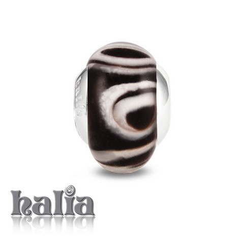 Marbled Delight: Pale swirls against a dark background: murano glass bead on a sterling silver barrel: designed exclusively by Halia, this bead fits other popular bead-style charm bracelets as well. Sterling silver, hypo-allergenic and nickel free.    $36.00