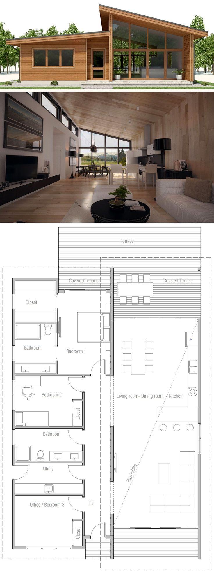 Planta de casa pequena, planta baixa com três quartos, arquitetura moderna #architec …   – Flur Modern