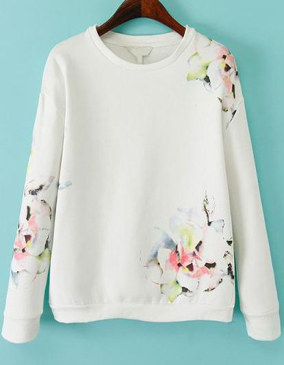 Shop White Long Sleeve Floral Loose Sweatshirt online. Sheinside offers White Long Sleeve Floral Loose Sweatshirt & more to fit your fashionable needs. Free Shipping Worldwide!