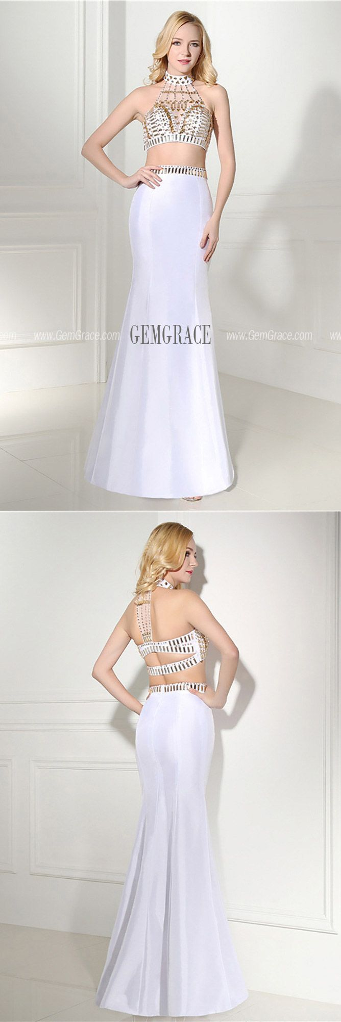 128 99 Unique 2 Piece White Semi Formal Dress With Halter Crystal Top H76124 Gemgrace Com White Semi Formal Dress White Homecoming Dresses Homecoming Dresses Tight [ 2000 x 668 Pixel ]