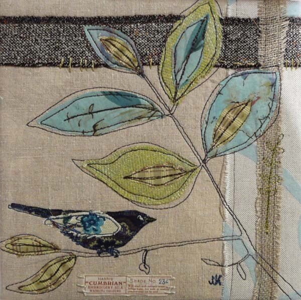 It's a big world for a lil' birdie * Hand embroidery * embellished * embroidered * DIY inspiration * Quilt square * Altered Art * paper piecing * bird and branches * vintage style * oh so pretty pastels leaves