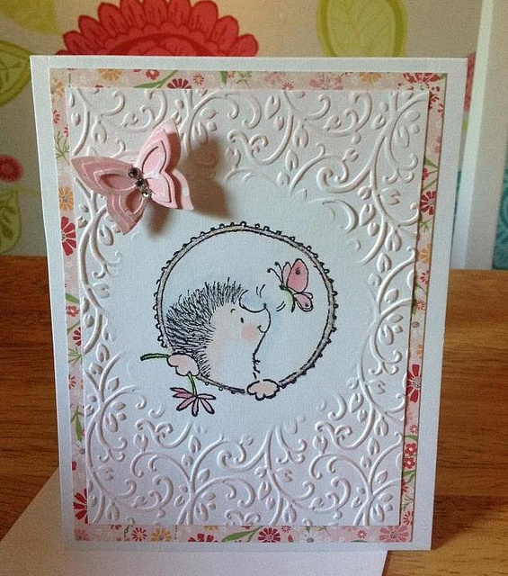 Embossed Hedgehog, Penny Black Stamps, card by Caroline Counsell