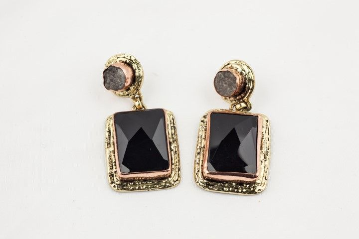Earrings with natural stones Black/Grey
