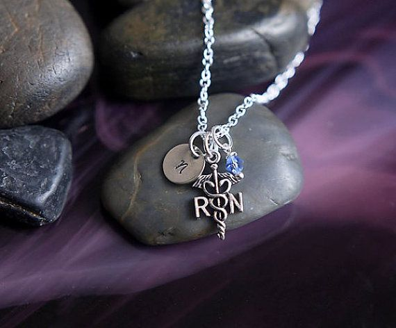 SALE  Nurse Necklace  Nurse Jewelry  Initial by DistinctlyIvy, $16.50