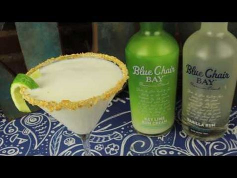 My My My Key Lime Pie Cocktail  3 oz. Blue Chair Bay® Key Lime Rum Cream .5 oz. Blue Chair Bay® Vanilla Rum 2 oz. coconut water  Shake all ingredients together and strain into martini glass.