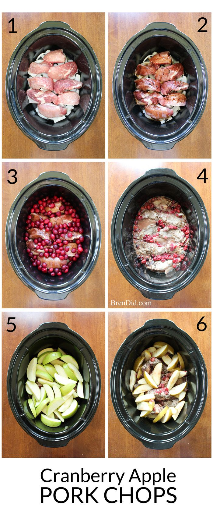 Boneless pork chops or pork ribs simmer with cranberries, onion and apples to create a delicious dish flavored with balsamic vinegar. Try this easy and delicious slow cooker recipe.