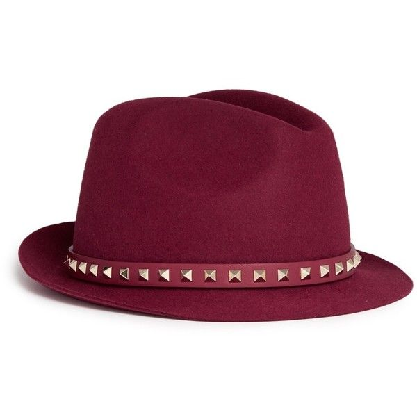 Valentino 'Rockstud' band rabbit furfelt fedora hat (36 130 UAH) ❤ liked on Polyvore featuring accessories, hats, red, anchor hat, rabbit hat, red fedora hat, red hat and fedora hats