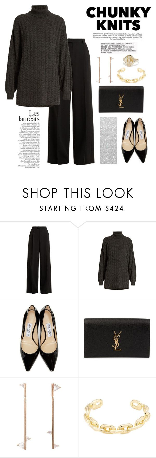 """Chunky Knits"" by windrasiregar ❤ liked on Polyvore featuring RED Valentino, Ryan Roche, Industrie, Jimmy Choo, Yves Saint Laurent, Oris, Eva Fehren, Jennifer Fisher and Pamela Love"