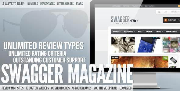 """Swagger is the first-of-it's-kind magazine style premium WordPress theme that allows you to create unlimited custom review """"mini-sites"""" within your main website (works for non-review sites just as well as review sites!)."""