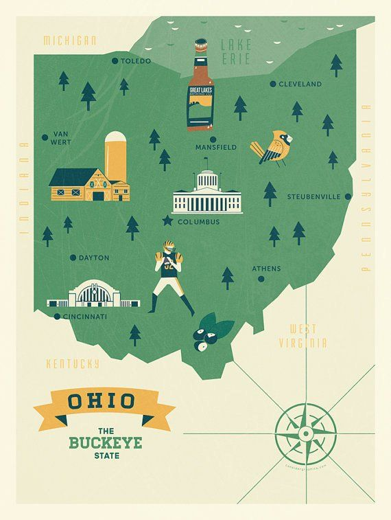Ohio Map, The buckeye state map, original illustrated map ...