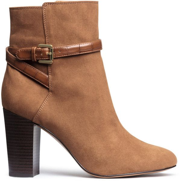 H&M Boots ($46) ❤ liked on Polyvore featuring shoes, boots, ankle booties, heels, cognac brown, brown ankle boots, heeled booties, high heel bootie, short boots and high heel ankle booties