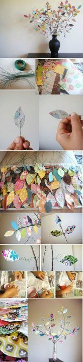 arbol hecho con hojas de papel: Idea, Flora Colorida, Paper Scrap, Trees Branches, Scrapbook Paper, Wire Trees, Paper Leaves, Paper Trees, Crafts