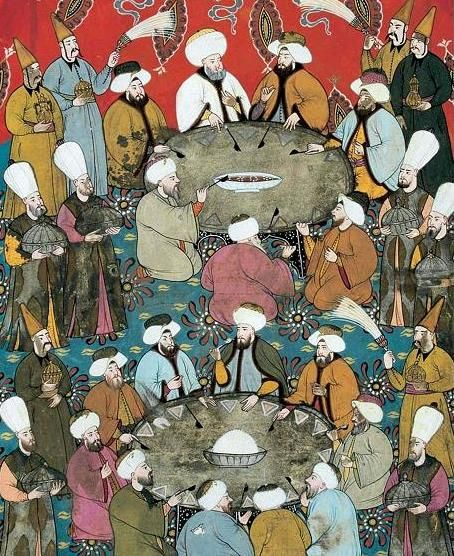 Surname-i Vehbi-Miniature Depicting Sultan Ahmed III Officials During Banquet-Levni-1720