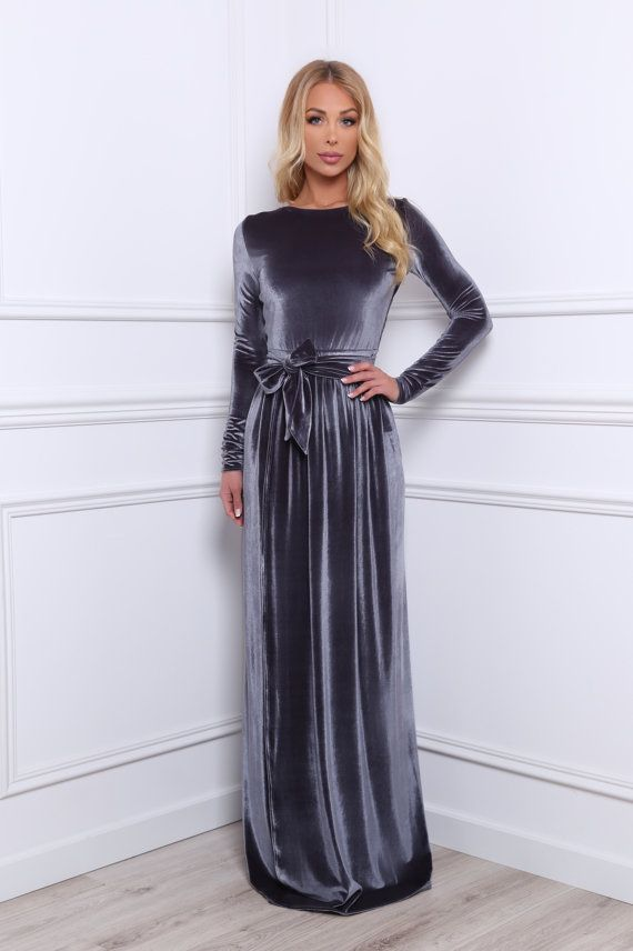Gray Velvet Maxi Slit Dress Long Sleeves by DesirVale on Etsy
