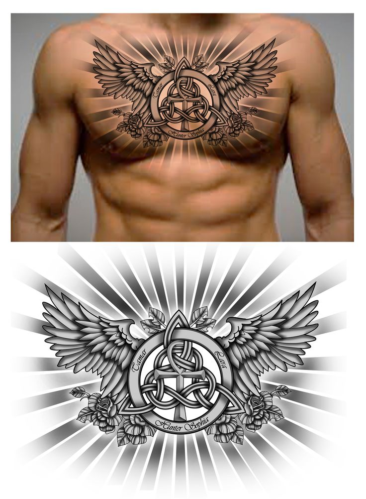 Family Trinity Knot with names and Ankh Symbol in it. Chest piece.