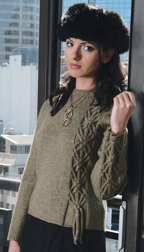 free knitting pattern ..Very neat Cable and I-Cord Sweater. @Afshan Sayyed Sayyed Sayyed Sayyed Shahid
