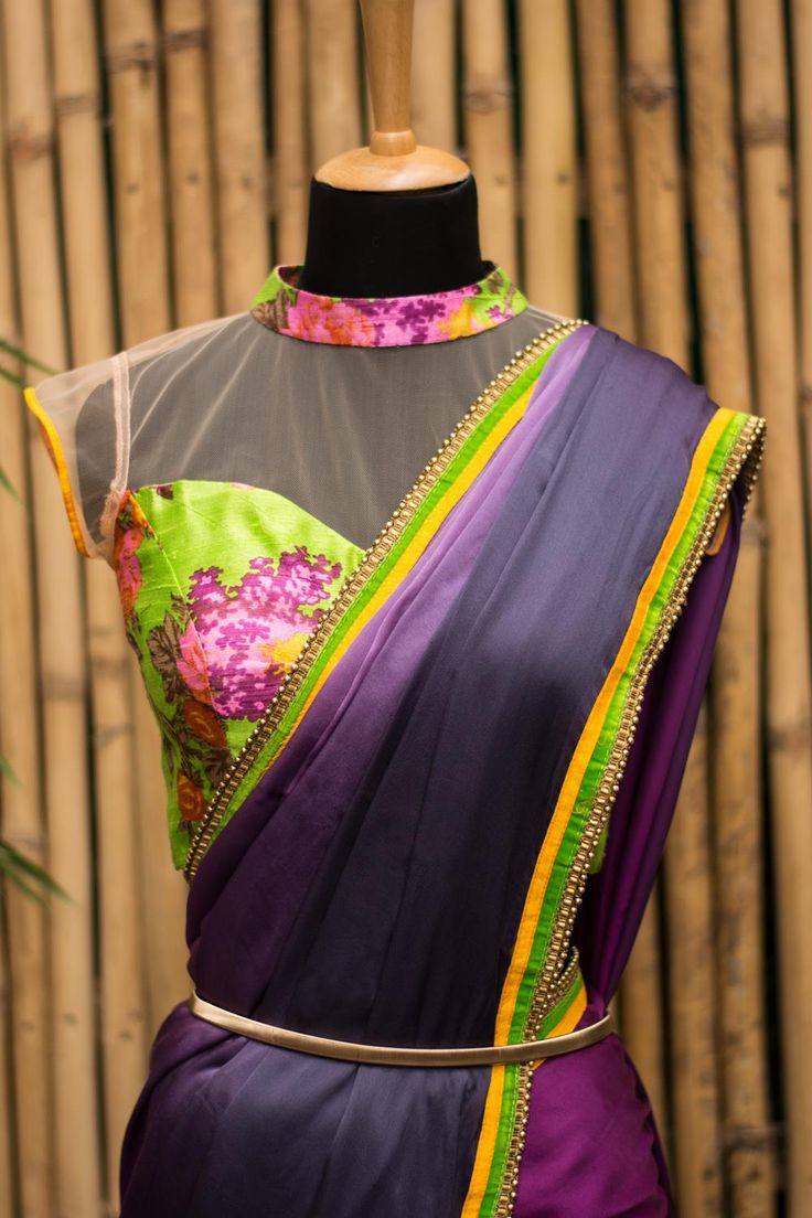 We love this green floral, collared raw silk blouse, with an unexpected sheer netted yoke. You are sure to sizzle your way through any do in this peekaboo floral blouse. Drape with a saree in one of the floral print colors. Or for a truly airy fairy look, do a pale pink netted saree which feels like candy floss on a beautiful day! Whatsapp +91 81050 68601. *Shipping worldwide* #saree #blouse #sareeblouse #blousedesigns #desi #indianfashion #india #bollywood #green #floral #rawsilk #sheer
