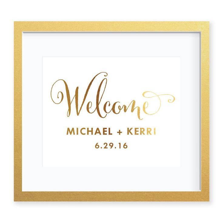 Wedding Welcome Sign Art Print | Beautiful gold foil welcome sign for your wedding ceremony, reception, bridal shower, or engagement party. Welcome your wedding guests with eye-catching real gold foil signage from Digibuddha Invitation + Paper Co. Available at Digibuddha.com