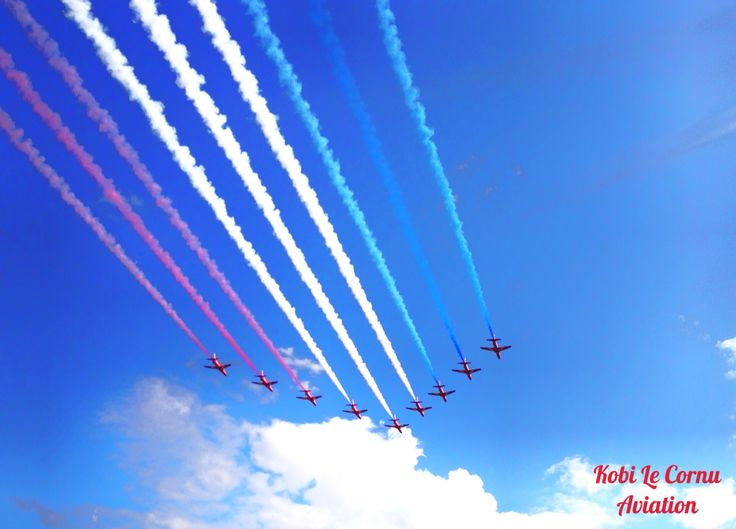RAF Red Arrows display team performing at families day show at RAF Cranwell 2015