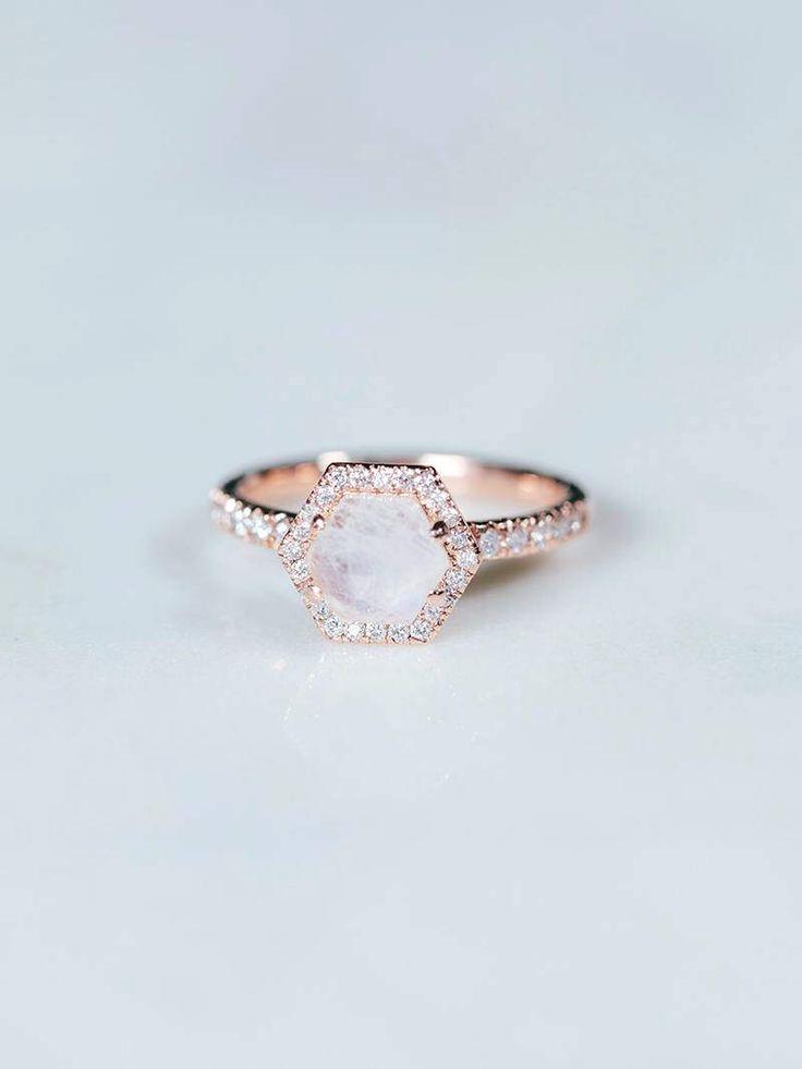 Moonstone Engagement Ring   Hexagon Rose Gold Wedding Band   Unique Diamond Halo Ring   Alternative Rainbow Ring [The Ondine Ring] by DavieandChiyo on Etsy https://www.etsy.com/listing/519137589/moonstone-engagement-ring-hexagon-rose