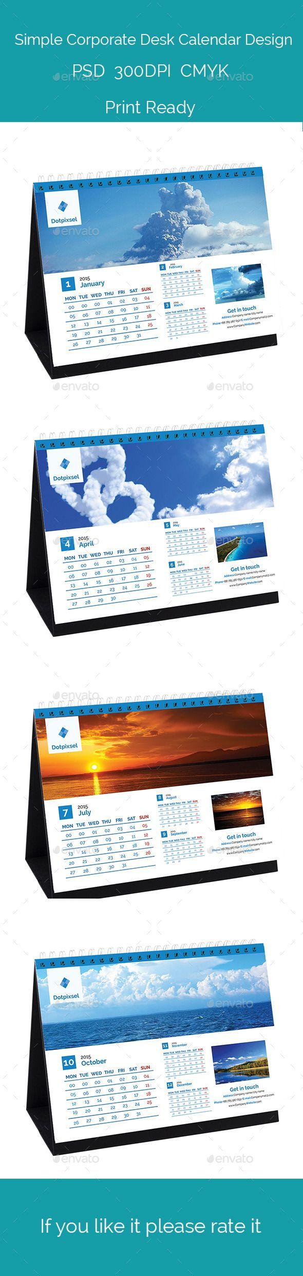 Simple Corporate Desk calendar