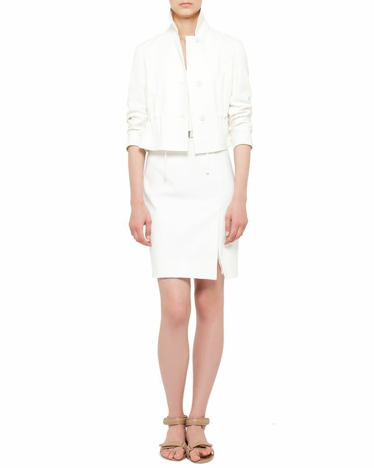 Akris punto Techno-Cotton Short Jacket and Belted Mesh-Back Dress - Neiman Marcus