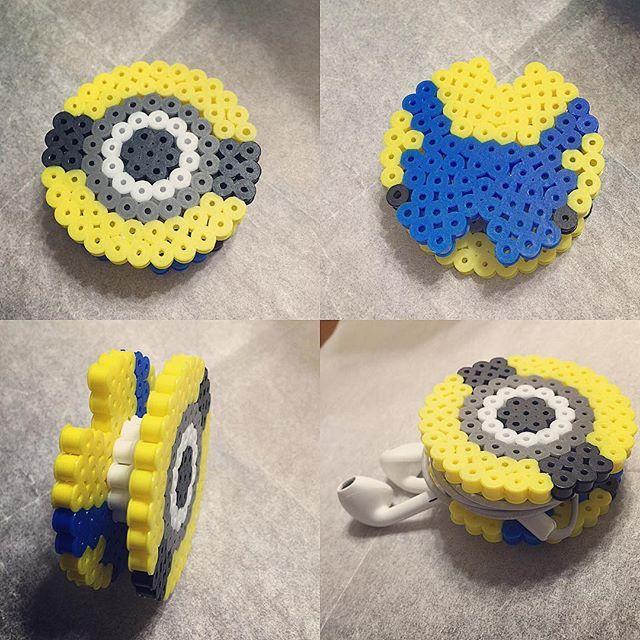 Minion earbud holder perler beads by starmiti