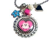 polka dot heart owl girl's pendant