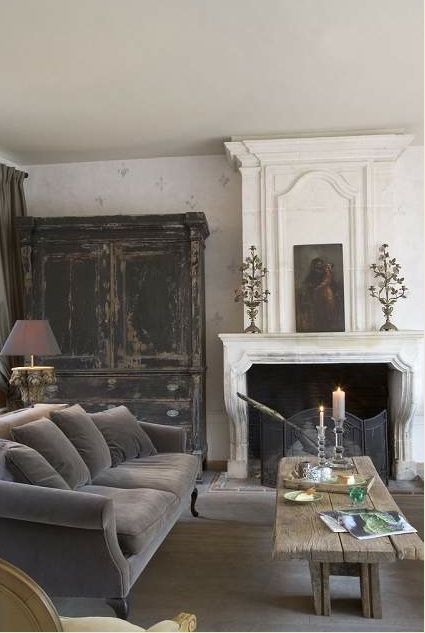 amazing finish on the armoire, and another gorgeous velvet sofa . . .