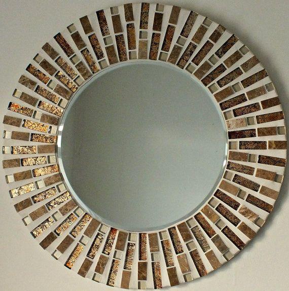 Buaitful Handmade Mosaic Mirror Bevelled Edge Glass Gold Mosaic Tile