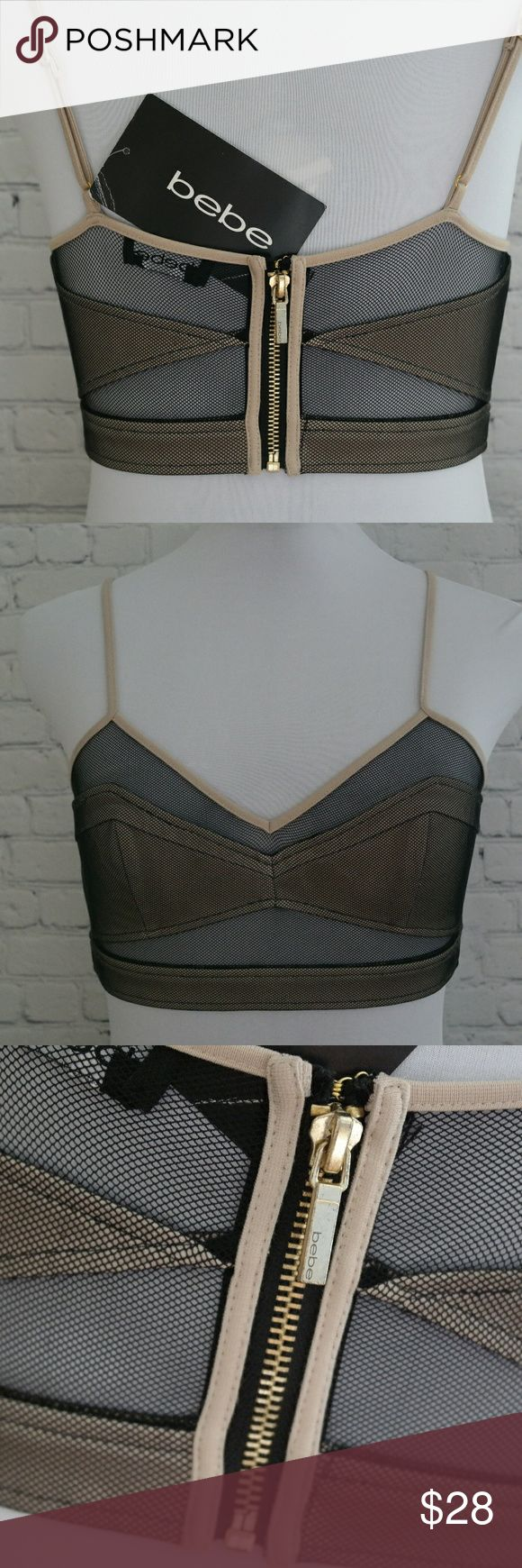 Bebe Net Mesh Zip Up Bodycon Crop Top Bralette S Sexy cut out crop top with mesh netting and gold hardware zip up back. Can be worn with high waisted skirt, jeans or as a bralette under a cute tank top.  Nwt bebe Tops Crop Tops