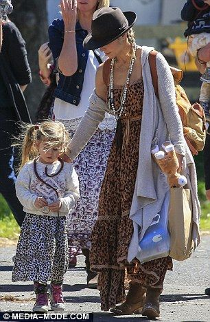Twins: Elsa Pataky and daughter India Rose wore matching boho chic outfits...