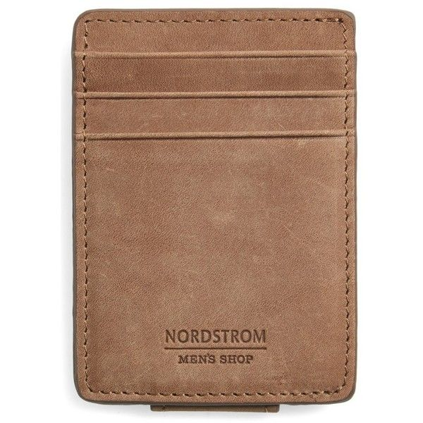 Men's Nordstrom Men's Shop Upton Leather Money Clip Card Case ($50) ❤ liked on Polyvore featuring men's fashion, men's accessories, men's money clips, brown earth, mens leather money clip, mens card holder with money clip, mens money clip and mens leather accessories