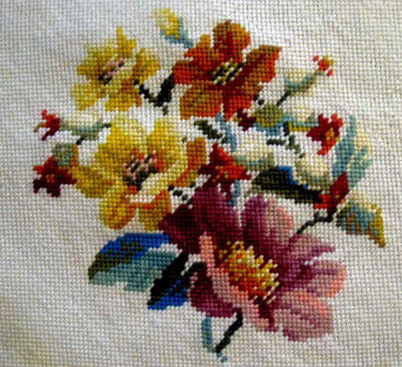 Vintage Floral Needlepoint Canvas Panel Completed Wool Pillow