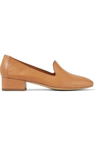 LOAFER LOVE: Mansur Gavriel's 'Venetian' loafers are crafted from the smoothest vegetable-tanned leather - it's soft, supple and will wear beautifully over time. This minimalist camel pair is set on a low block heel for comfortable lift. Wear yours with frayed jeans.