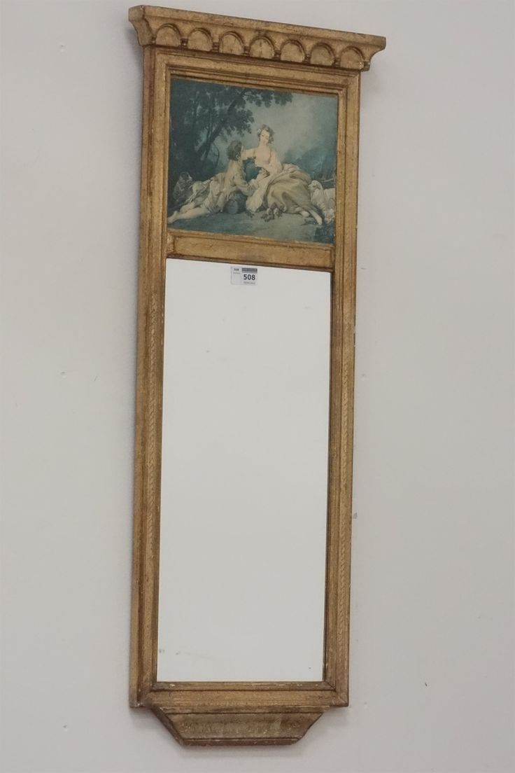 19th century style gilt pier glass mirror, picture panel above, 36cm x 86cm